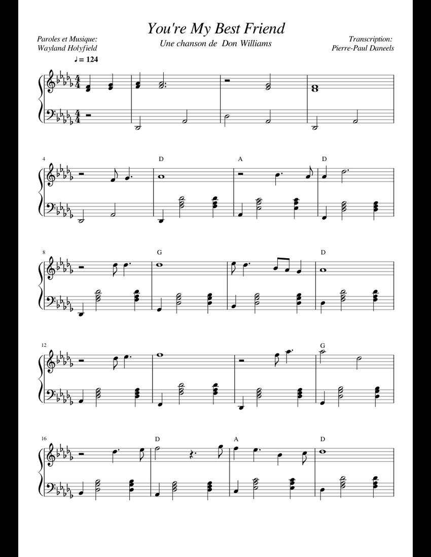 You re My Best Friend sheet music for Piano download free in PDF or MIDI