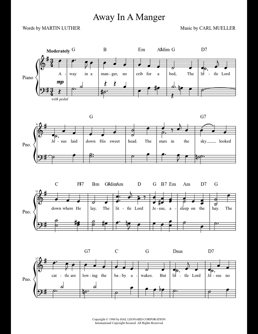 photo relating to Lyrics to Away in a Manger Printable known as Absent Inside A Manger sheet new music down load free of charge inside PDF or MIDI