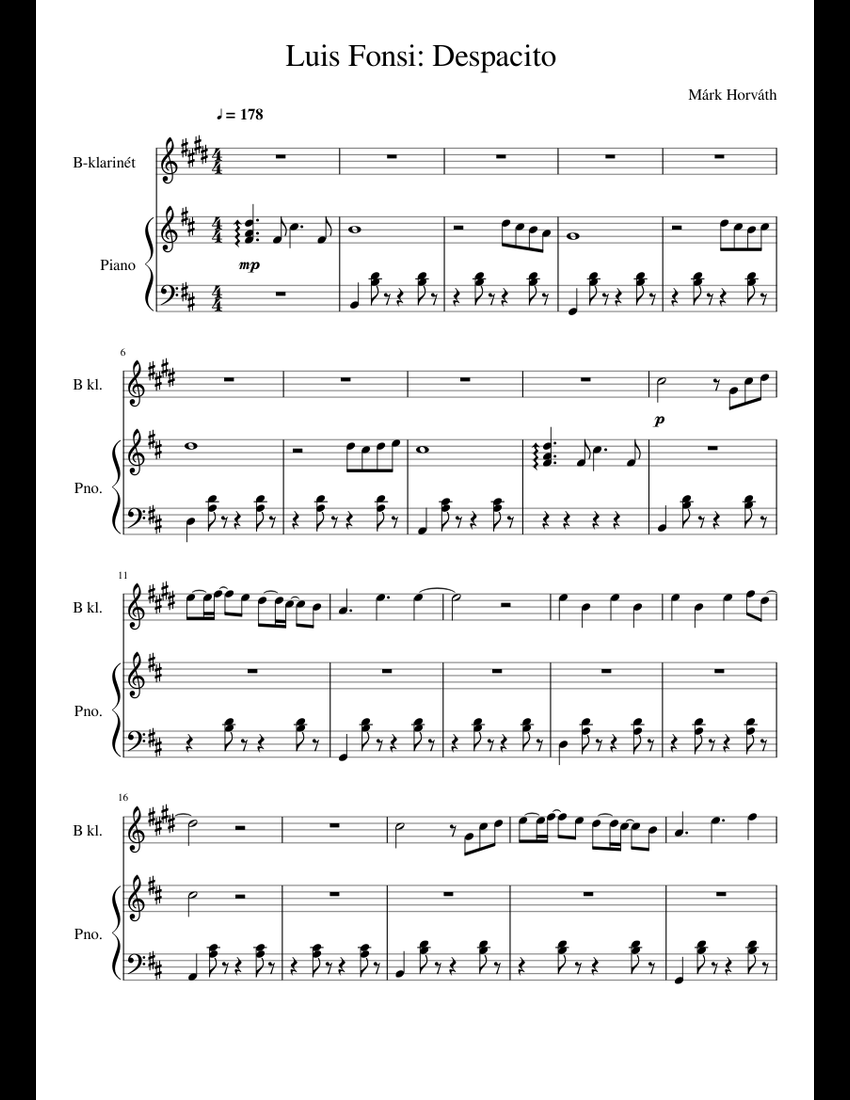 Luis Fonsi: Despacito (B-Clarinet & Piano) sheet music for