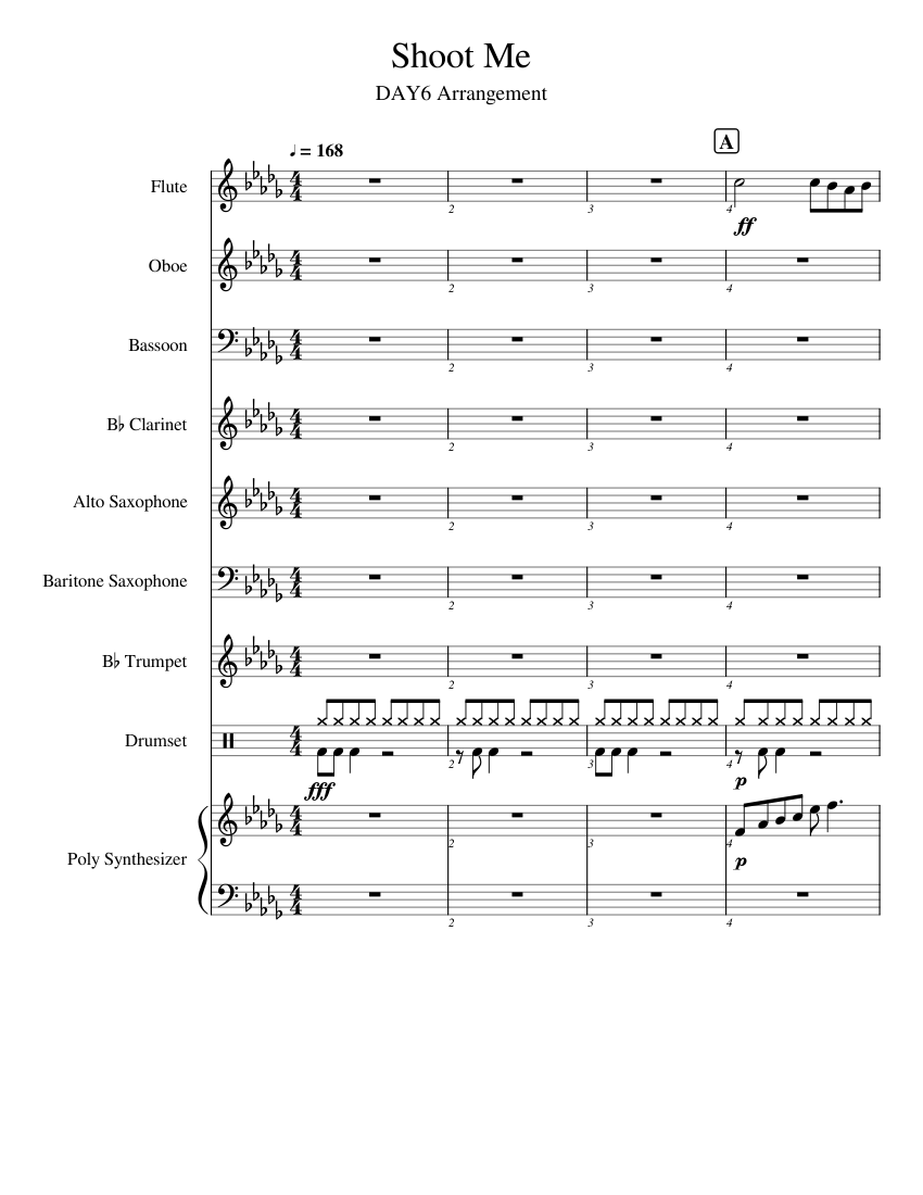Shoot Me sheet music for Flute, Clarinet, Oboe, Bassoon