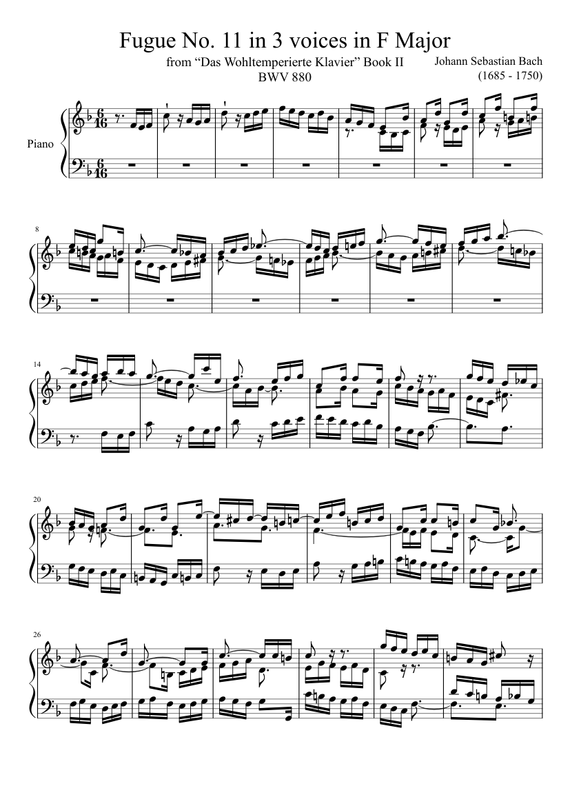 The Well-tempered Clavier (Book II): Prelude and Fugue No. 11