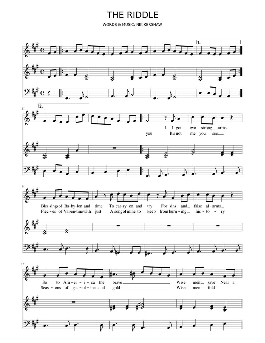 Seleccione Kosciuszko Salón de clases  Nik Kershaw - The Riddle Sheet music for Piano, Guitar (Mixed Duet) |  Musescore.com
