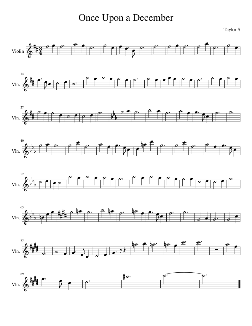 Anastasia once upon a december violin sheet music for beginners