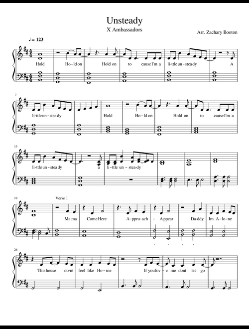 Unsteady   X Ambassadors sheet music for Piano download free