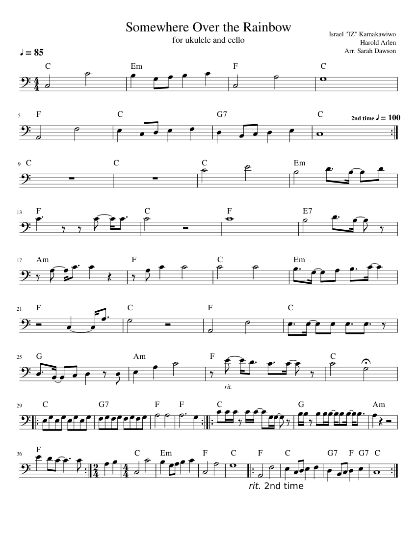 Somewhere Over the Rainbow for Ukulele and Cello Sheet ...