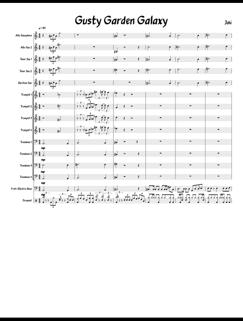 Gusty Garden Galaxy sheet music for Alto Saxophone, Tenor