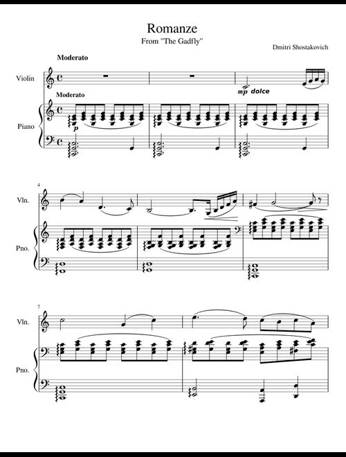 Dmitri Shostakovich- Romance (from The Gadfly) sheet music