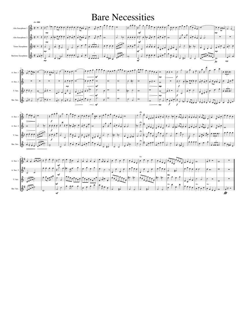 Bear Necessities sheet music for Flute, Clarinet, Piano