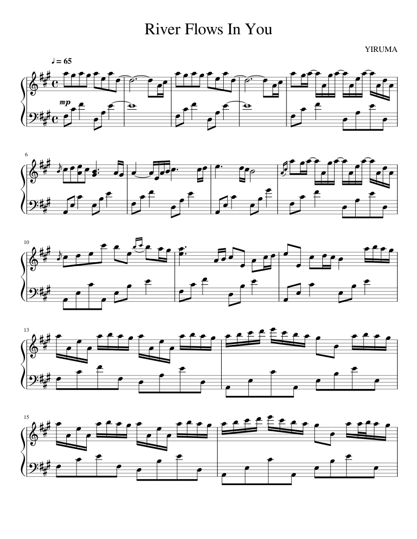 river flows in you sheet music for piano download free in pdf or midi