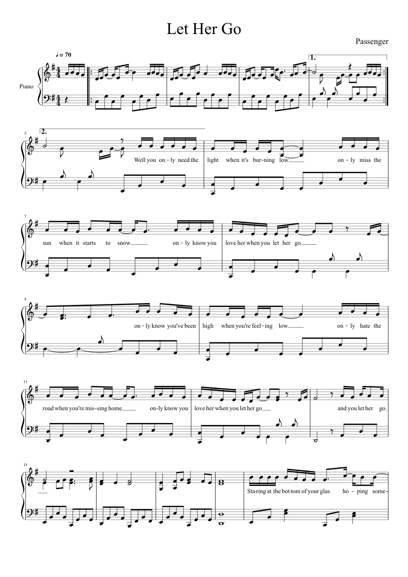 photograph regarding Let It Be Piano Sheet Music Free Printable called Penger-Allow Her Shift sheet audio for Piano down load totally free inside of