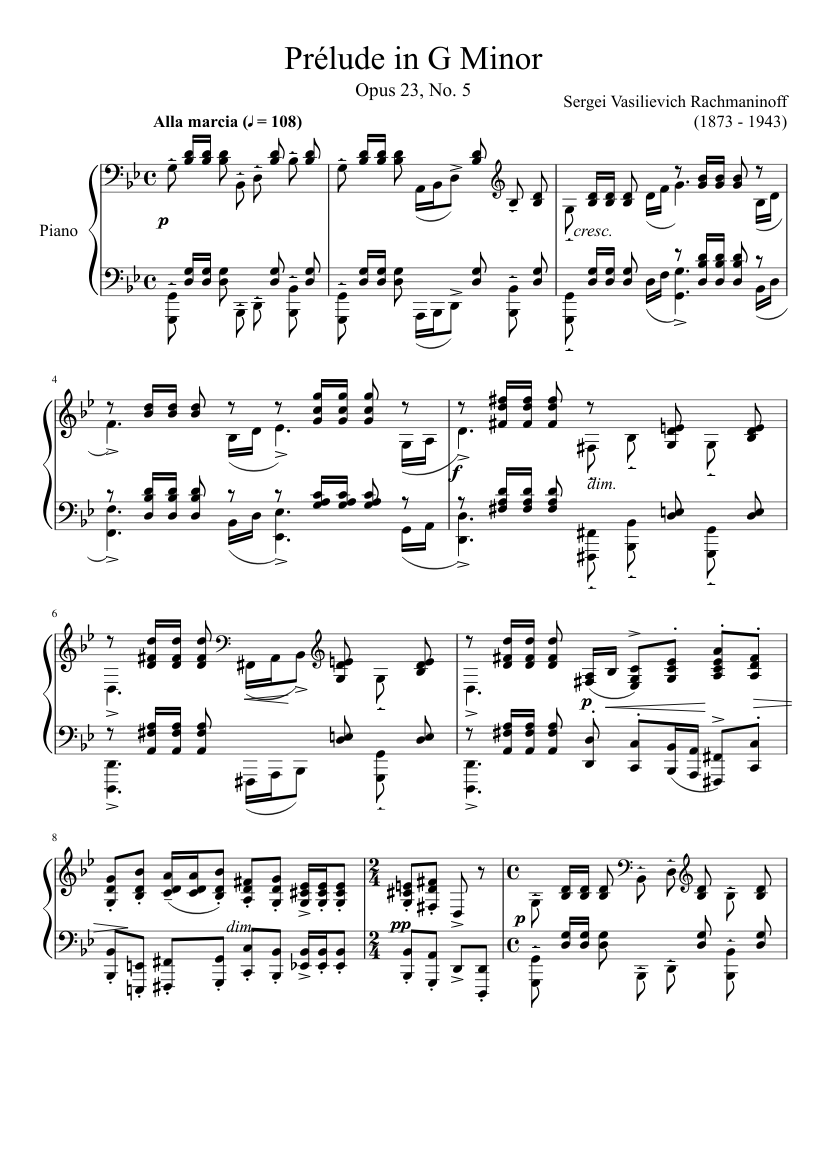 Prelude in G minor, Op. 23, No. 5 (for String Orchestra)