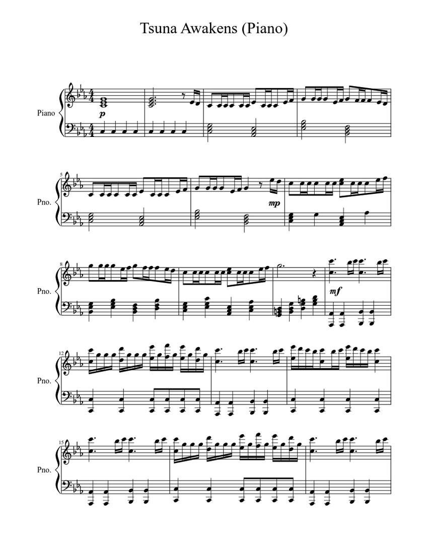 Tsuna Awakens Piano Sheet Music For Piano Solo Musescore Com
