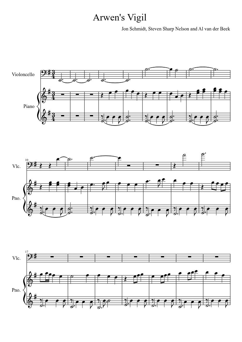 arwens vigil piano sheet music