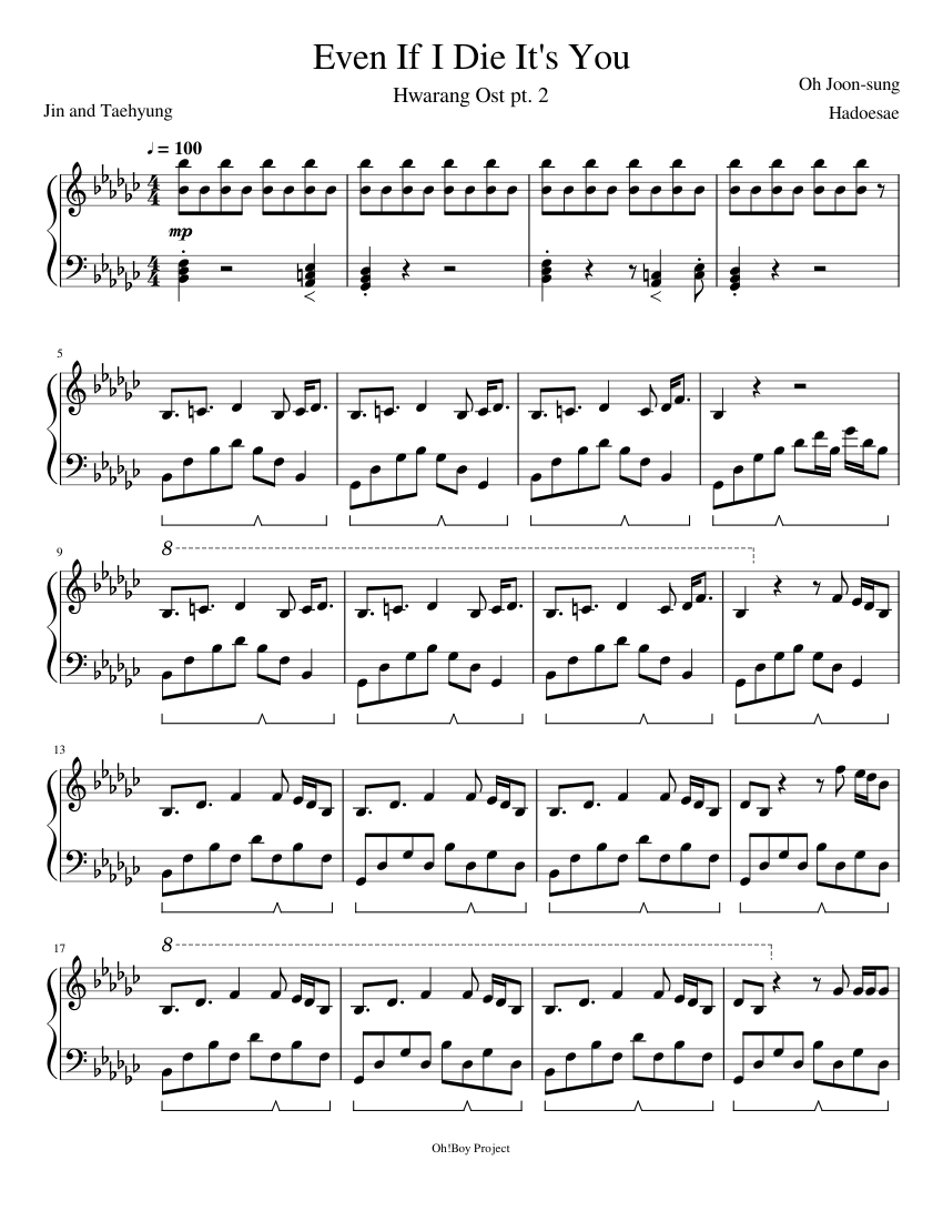 Even If I Die It S You Sheet Music For Piano Download Free In Pdf