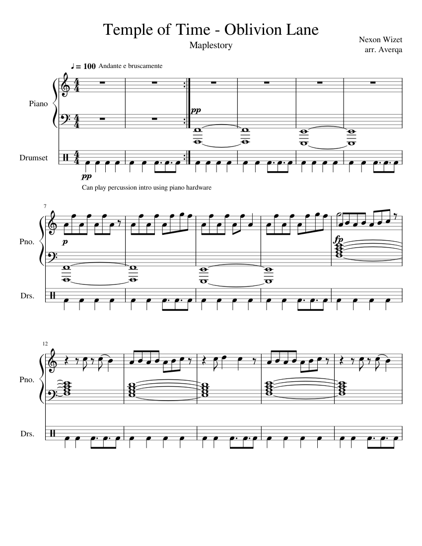 Temple of Time - Oblivion Lane (Maplestory) sheet music for