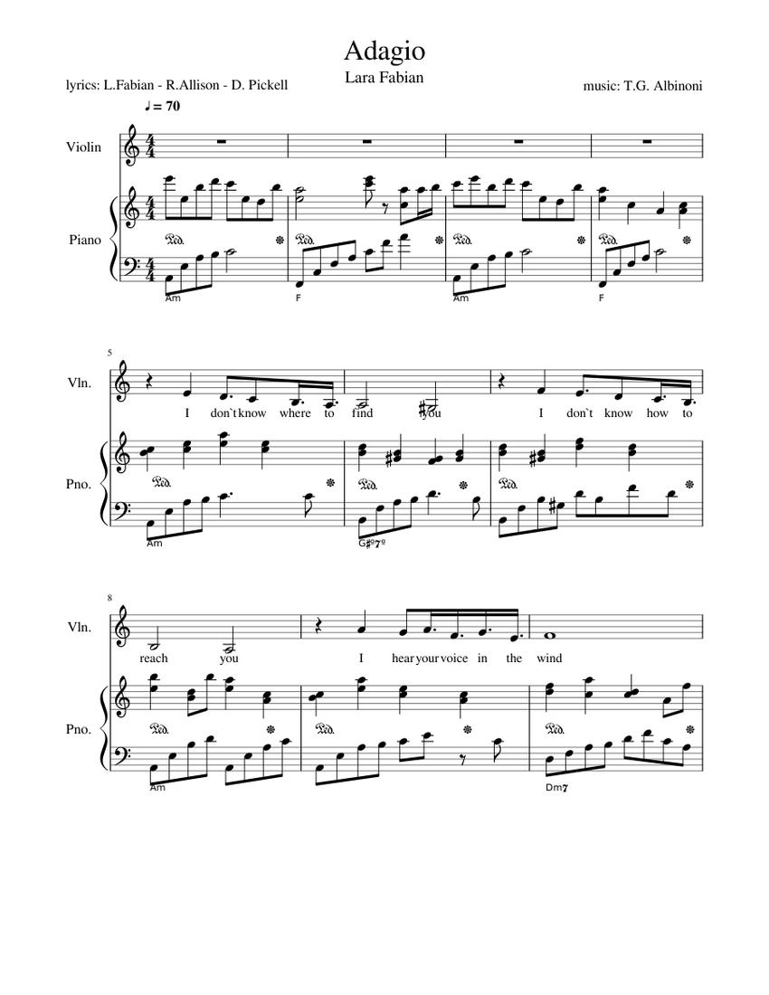 Adagio Lara Fabian lam - piano tutorial