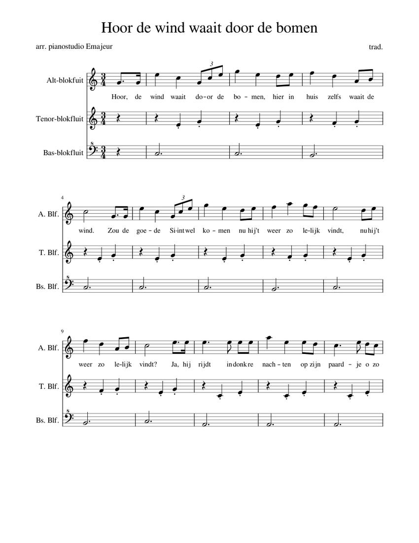 Hoor De Wind Waait Door De Bomen For Atb Recorders Sheet Music Musescore Com