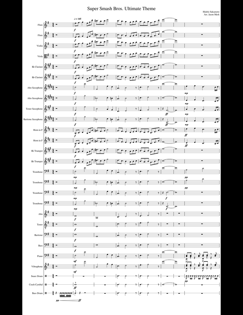 Super Smash Bros. Ultimate Theme Full Band sheet music for