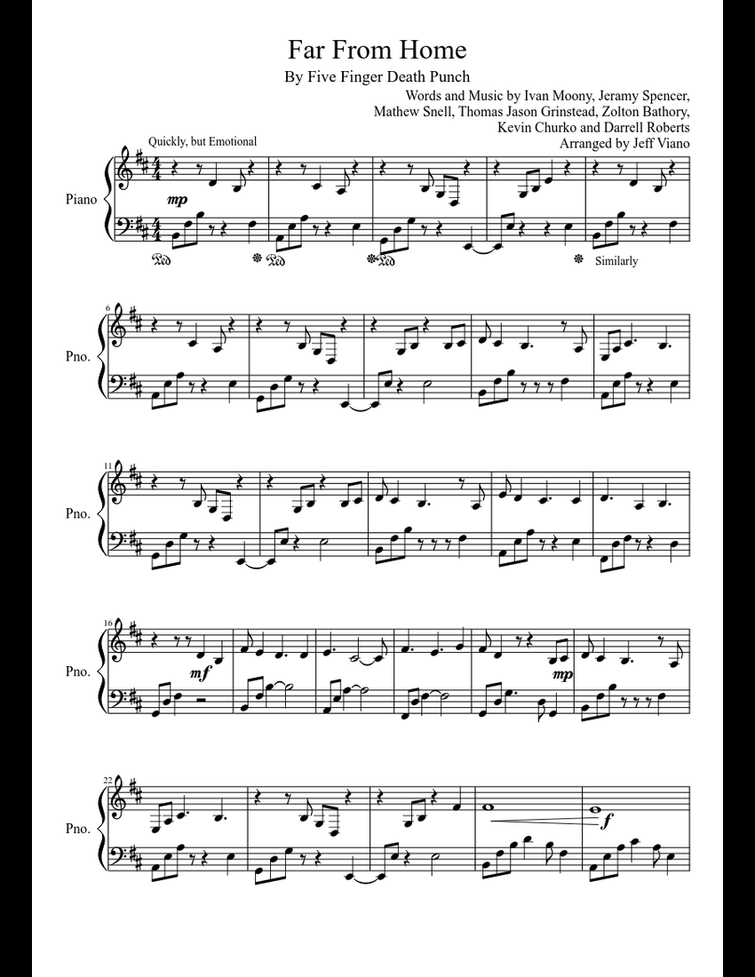 Far From Home Five Finger Punch Piano Solo Sheet Music Download Free In Pdf Or Midi