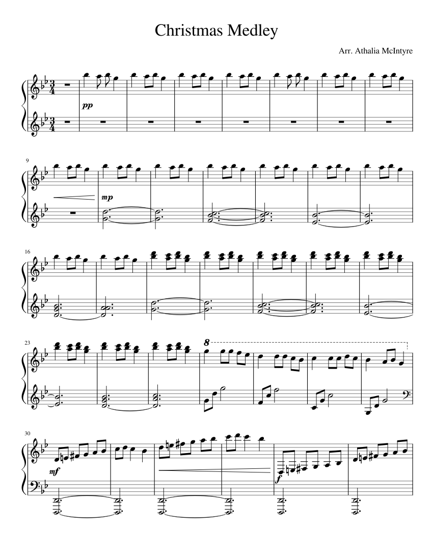 Christmas Medley sheet music for Piano download free in PDF or MIDI