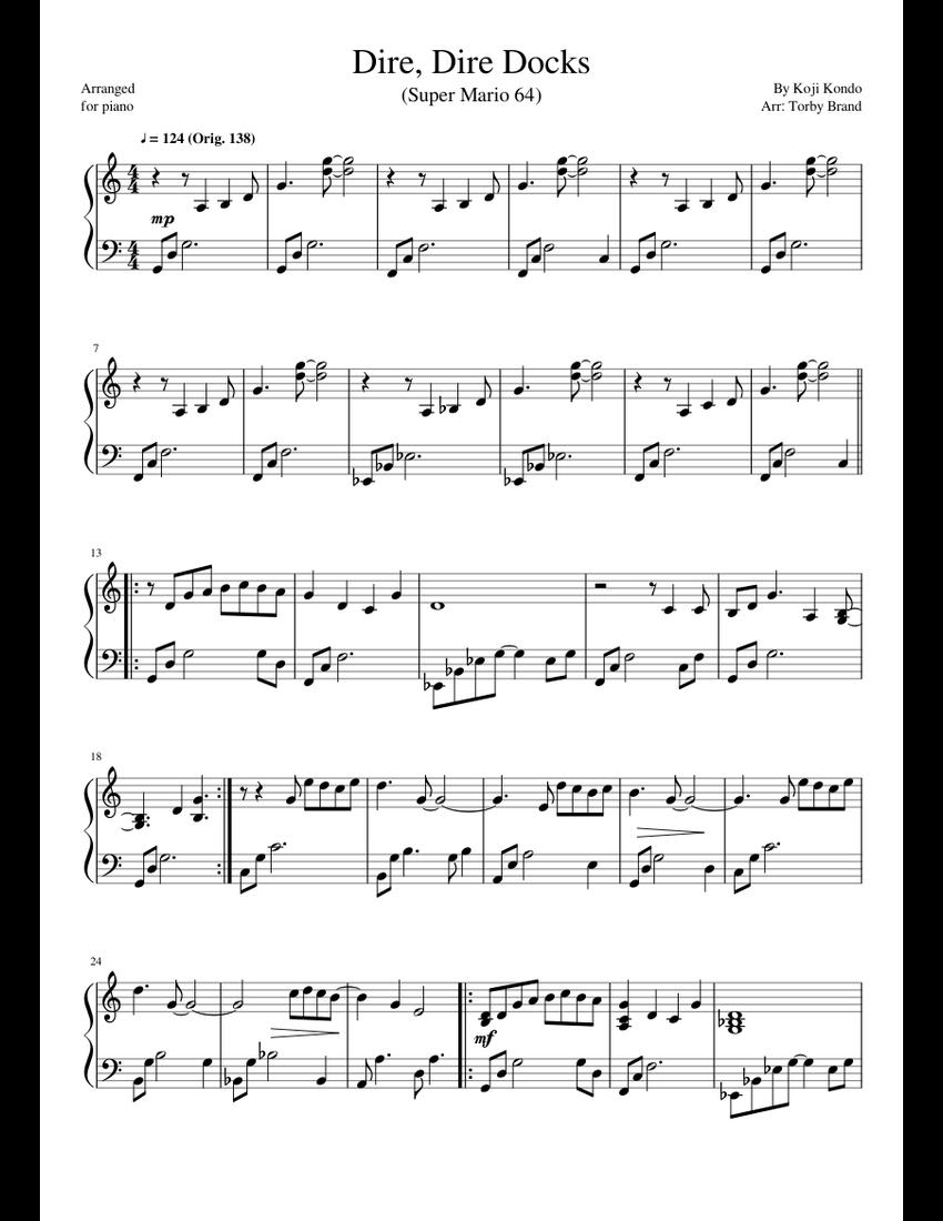 Dire Dire Docks (Super Mario 64) sheet music for Piano