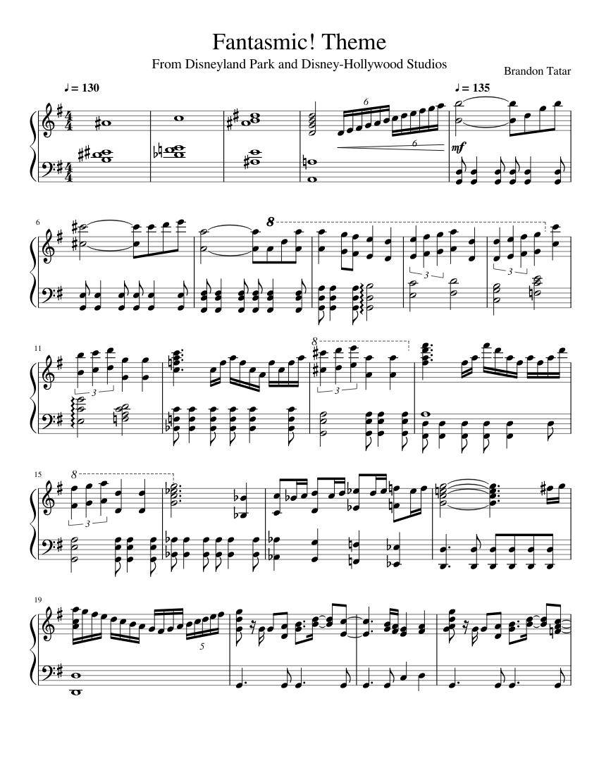 image regarding Free Printable Disney Sheet Music titled Fantasmic sheet tunes for Piano down load cost-free inside PDF or MIDI