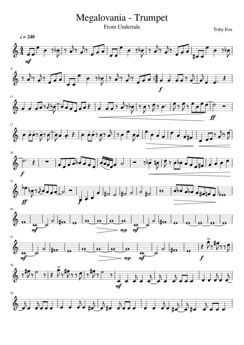 image about Free Printable Sheet Music for Trumpet named Megalovania (Trumpet) sheet new music for Trumpet down load absolutely free