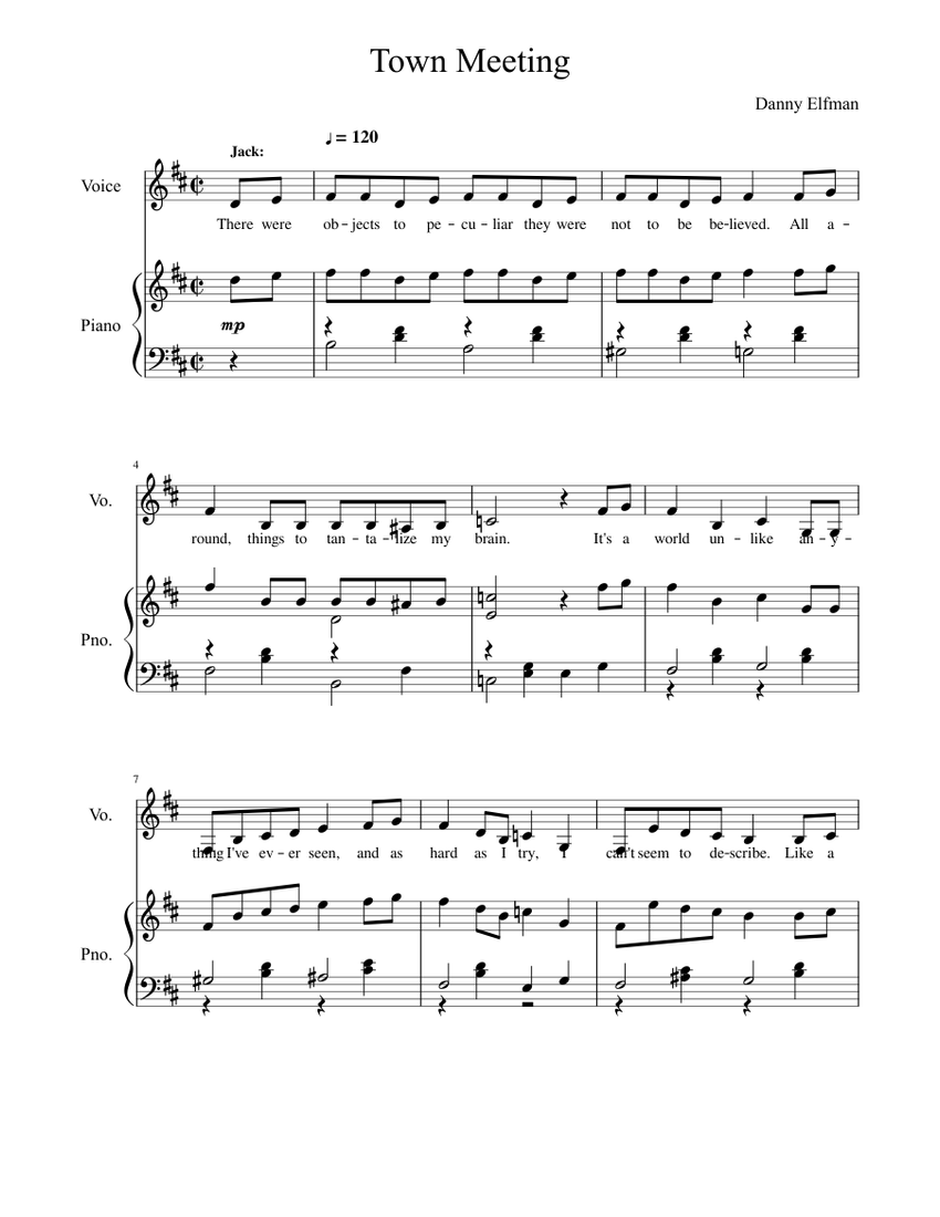 Town Meeting Song - The Nightmare Before Christmas Sheet music for Piano, Voice (Other) (Piano ...