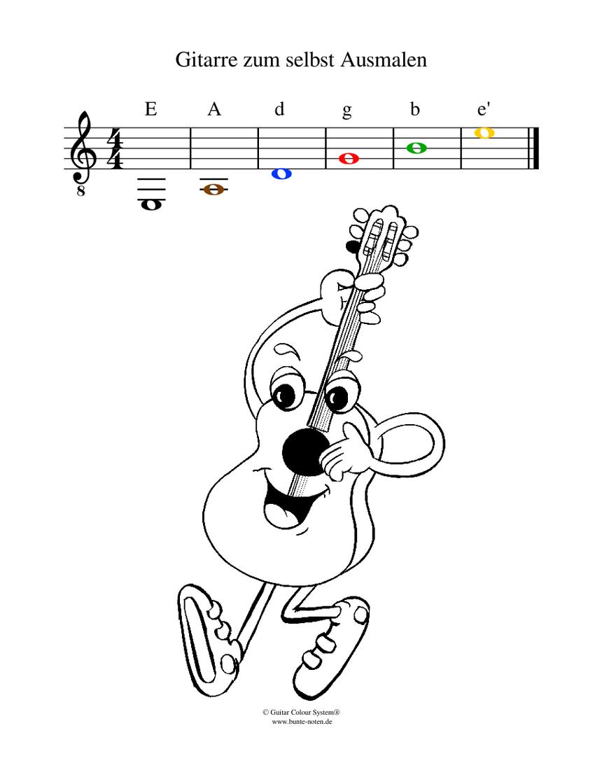 gitarre zum selbst ausmalen sheet music for guitar solo