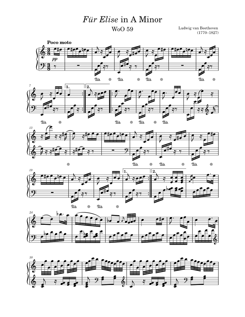 Für Elise sheet music for Piano download free in PDF or MIDI