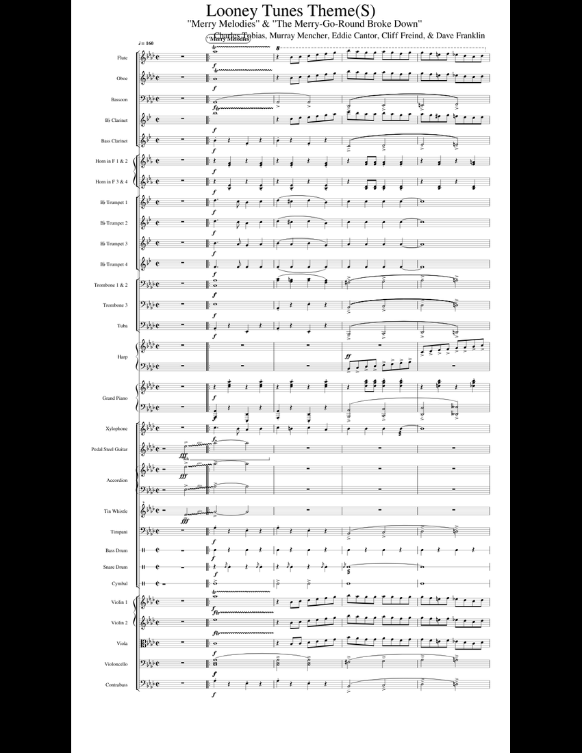 looney tunes theme s  sheet music for flute  clarinet  piano  violin download free in pdf or midi