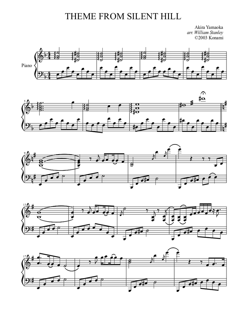 Theme From Silent Hill Sheet Music For Piano Solo Musescore Com