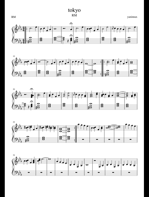 RM - tokyo (arrangement by yaninnax) sheet music for Piano