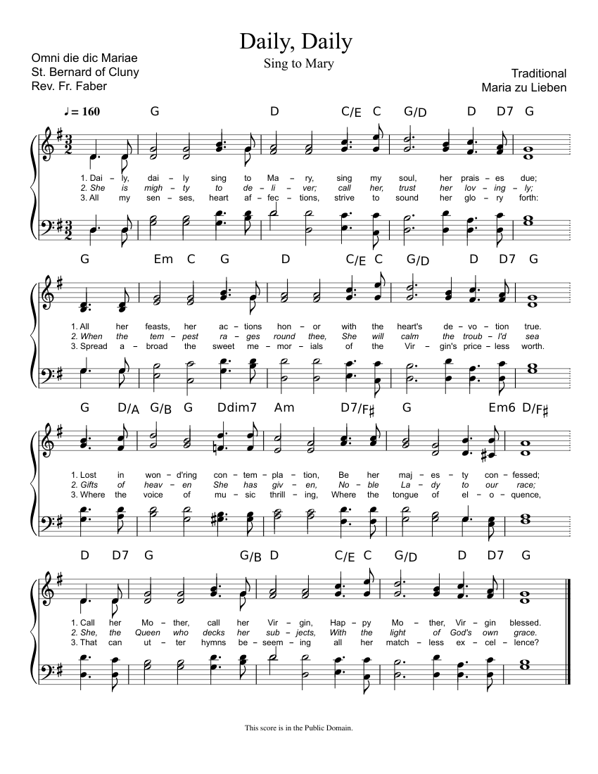 image about Daily Sheet named Day by day, Every day, Sing in direction of Mary (Omni die dic Mariae) sheet new music