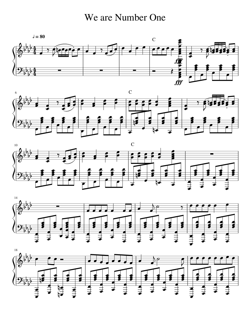 We are Number One sheet music for Piano download free in PDF or MIDI