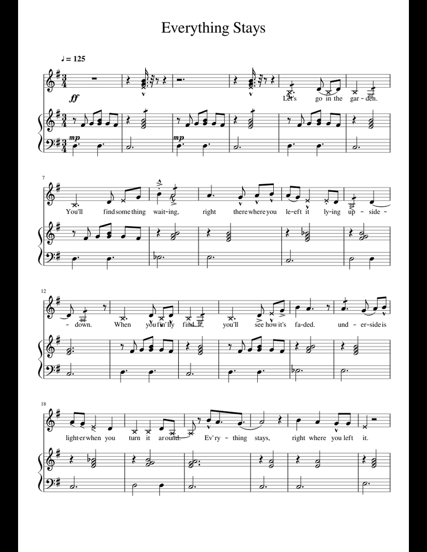 EveryThing Stays - Adventure Time sheet music for Piano, Flute, Guitar, Bass download free in