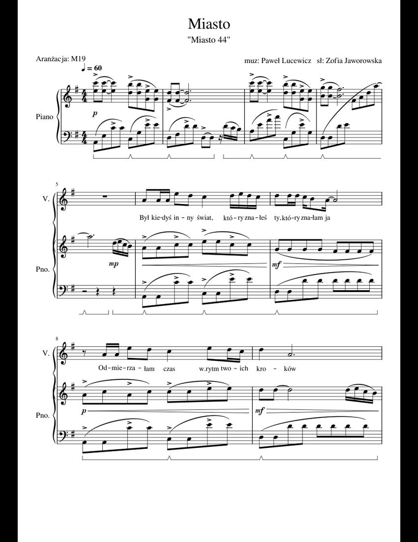 Aktualne Miasto sheet music for Piano download free in PDF or MIDI VY19