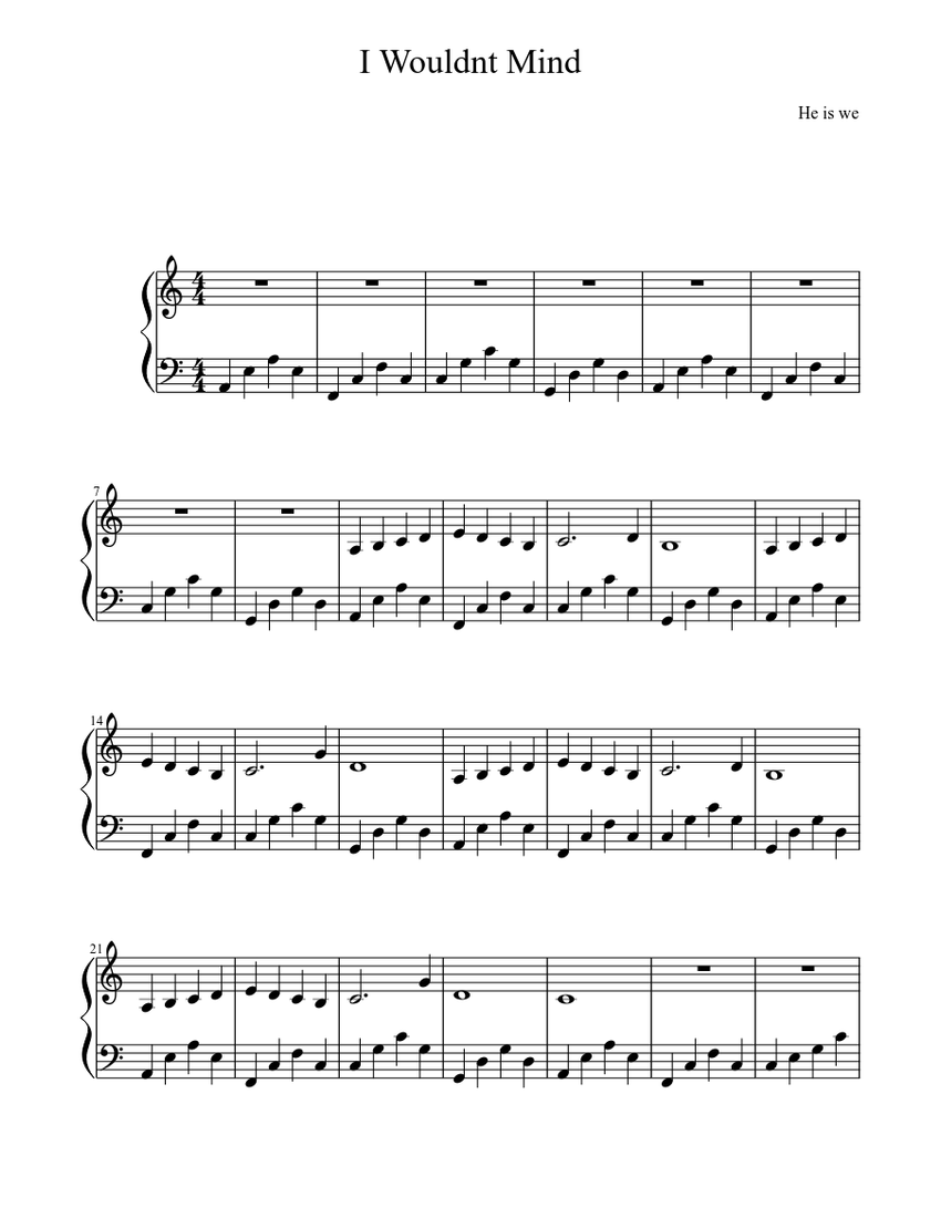 I Wouldnt Mind He Is We Piano Sheet Music Sheet Music For Piano Download Free In Pdf Or Midi Musescore Com