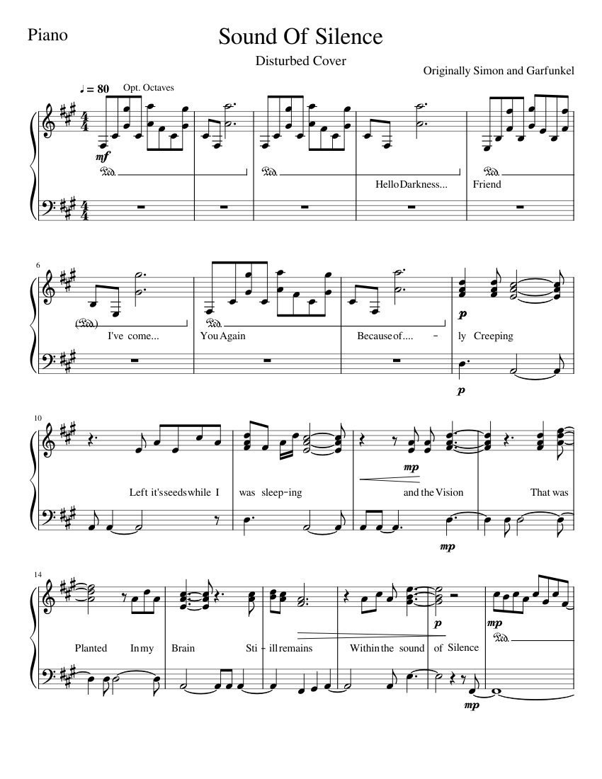 image regarding Free Printable Sheet Music for the Sound of Music identify Reliable of Silence piano sheet songs for Piano obtain cost-free