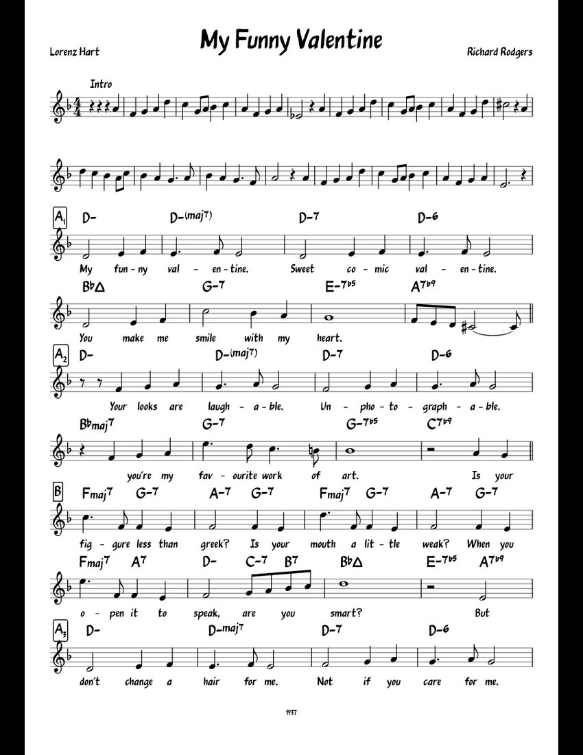 My Funny Valentine Sheet Music For Piano Download Free In Pdf Or Midi