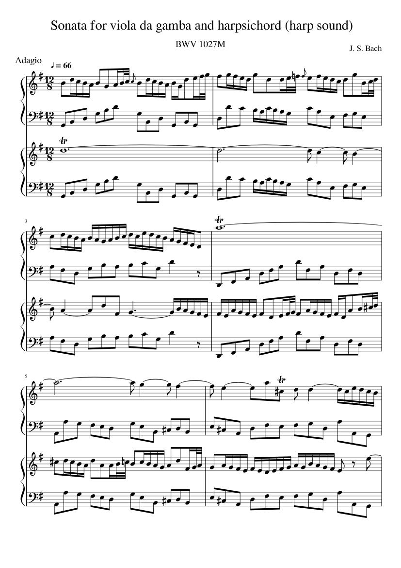 Viola da Gamba Sonata - Piano Score