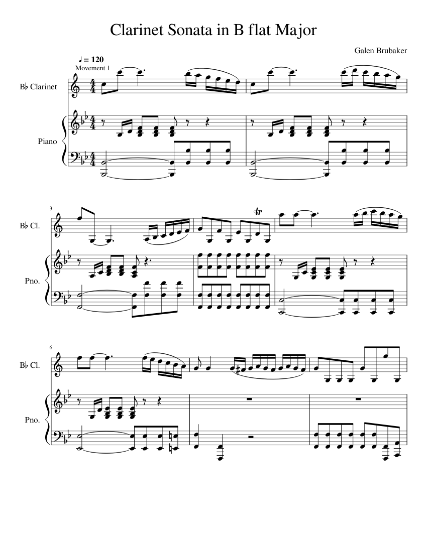 Sonata No. 6 Bb Major - Clarinet