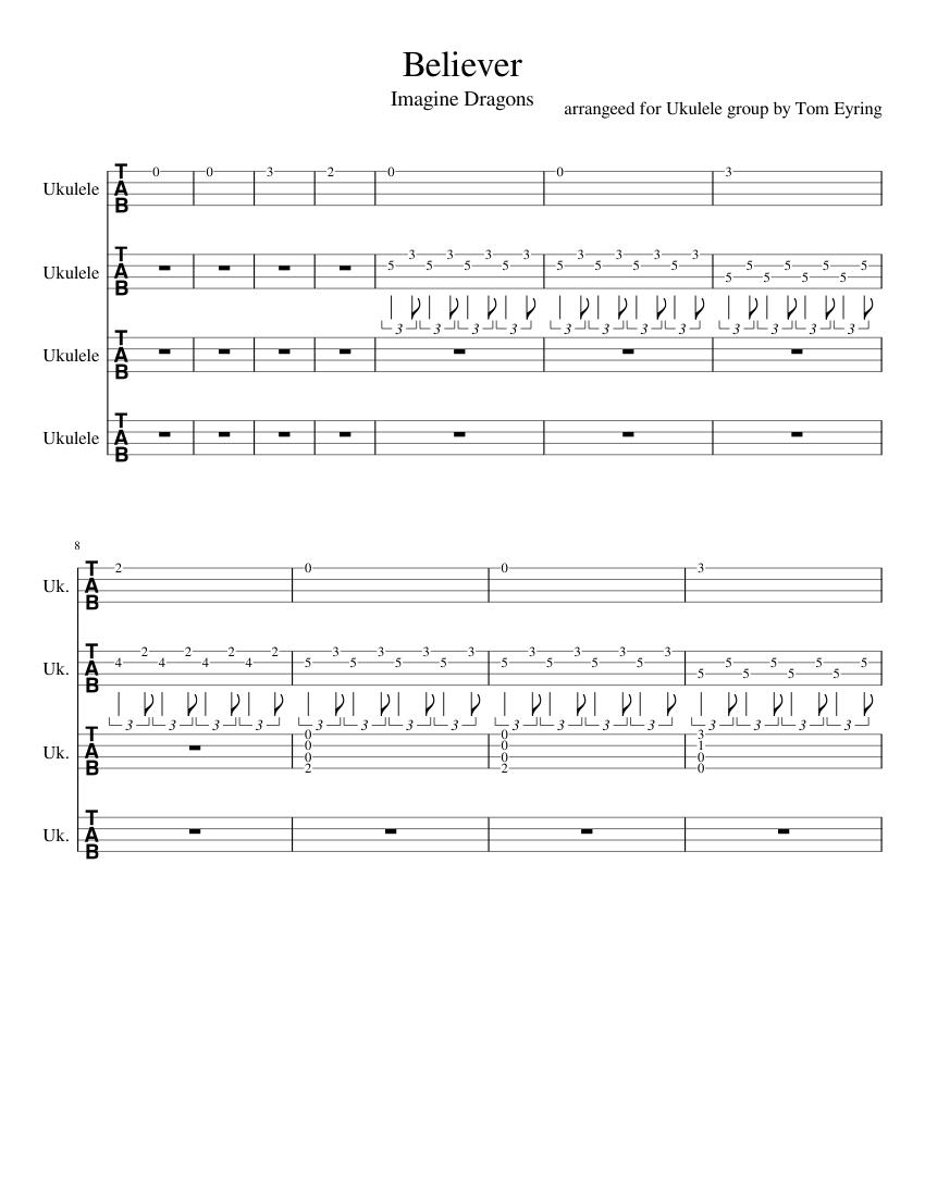 Believer ukulele camp sheet music for Guitar download free