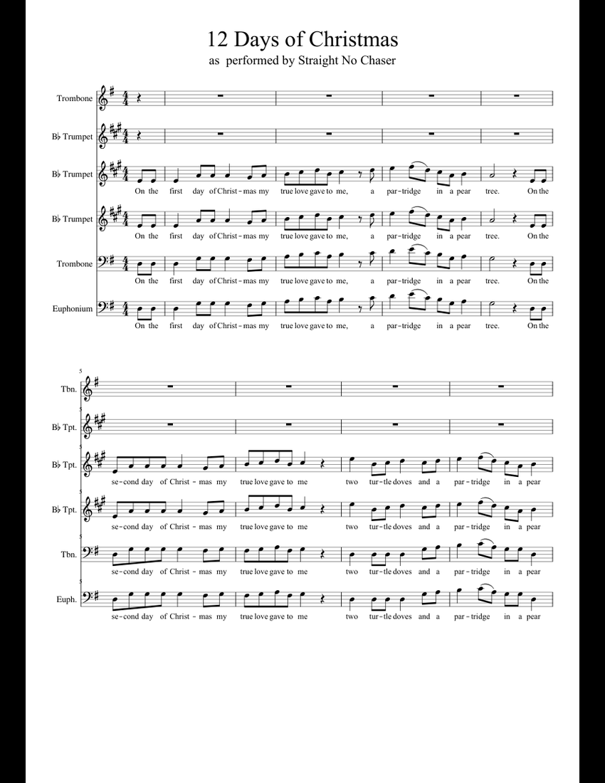 12 Days of Christmas Straight No Chaser sheet music for Trombone, Trumpet, Tuba download free in ...