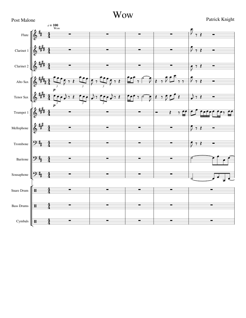 Wow Post Malone sheet music for Flute, Clarinet, Alto