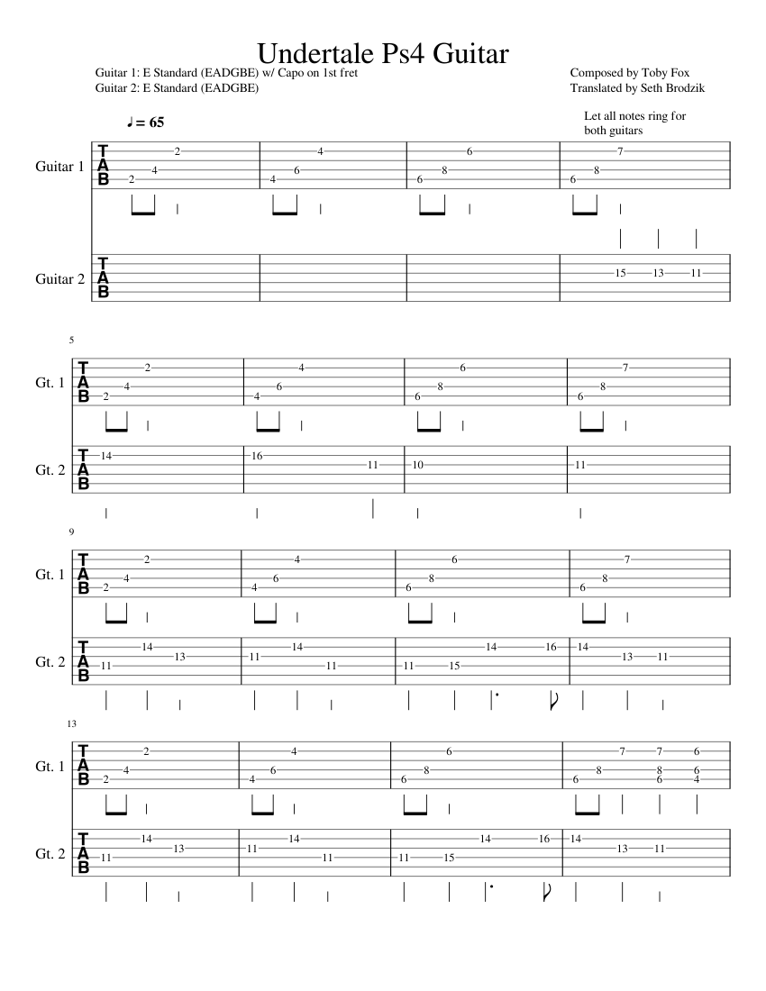 [UNDERTALE] PS4 Menu Theme (Guitar Cover) sheet music for