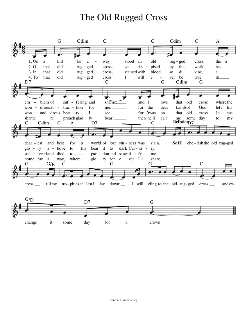 graphic relating to Old Rugged Cross Printable Sheet Music identified as The Outdated Rugged Cross sheet songs for Piano obtain cost-free inside of