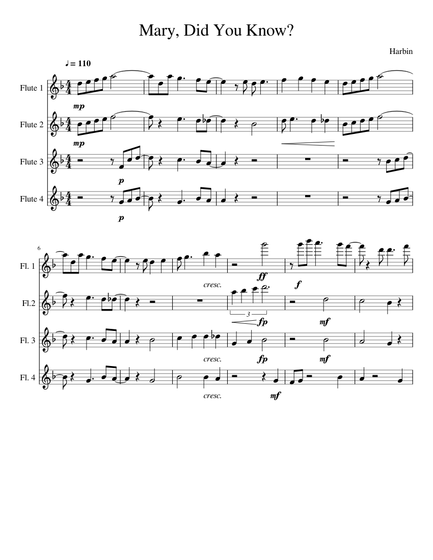 Mary, Did You Know? sheet music for Flute download free in PDF or MIDI