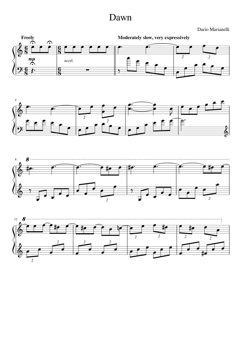 graphic about Free Printable Lap Harp Sheet Music identified as Sunrise sheet new music for Piano down load totally free inside PDF or MIDI