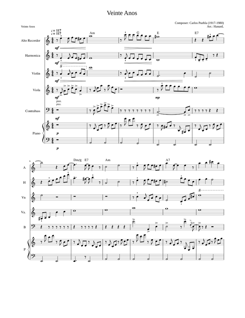 Veinte Anos Sheet Music For Viola Contrabass Piano Recorder